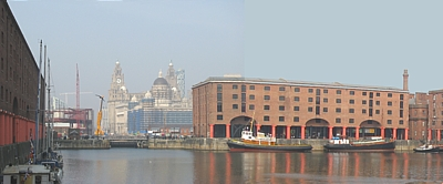 The same view of Albert Dock today