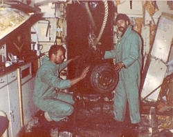 S(D) Stan Bowles and LS(D) Dave Southwell of FCDT 1 with 1,000 lb bomb in HMS Argonaut