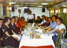 British Lions onboard HMS Minerva in Bermuda in 1975