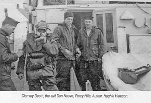 Derek 'Dan' Neave (extreme left) with members of the 51st MSS Diving Team on board HMS Brenchley in 1956