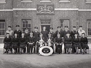 HMS Vernon's Sailing Team in front of Admin Building c.1949
