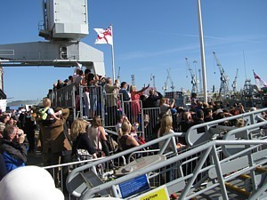 The crowded grandstand on the jetty