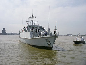 HMS Ramsey in the River Mersey