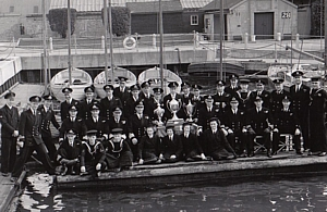 HMS Vernon's Sailing Team in Vernon Creek c.1949