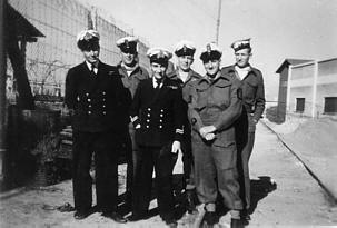 Lionel 'Buster' Crabb with RN Diving Team in Haifa 1947