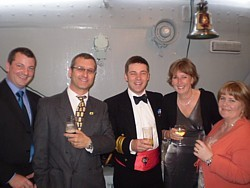 Lilliput Sea Scout Group staff with CO of HMS Cattistock