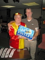 Steve 'Nemo' Wesby receives a crate from Les for winning Quarterdeck