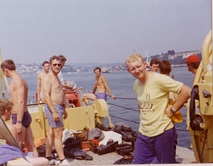 Members of LMCDO '76 on board FDT Datchet as she leaves Falmouth in 1976