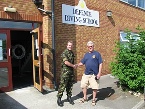 Lt Tim O'Neill RN with Mike Ey outside Defence Diving School