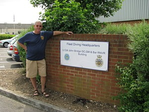 Mike Ey outside Fleet Diving HQ at Horsea Island