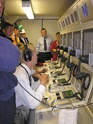 NSRS Control Room with MCDOA Associate Member Alan Noonan (DIVEX) in background