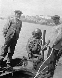 Rodney's grandfather in standard diving dress in 1918