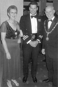 HMS Ledbury's CO Paul Russell with Cllr Varney and his consort