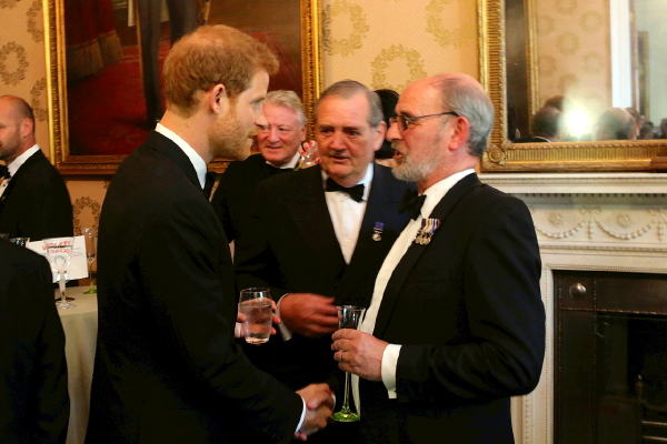 Rob Hoole with Prince Harry at Vernon Monument Dinner at Trinity House 19 July 2017