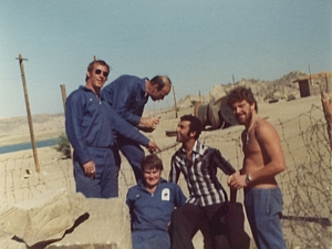 Stan Holbrook (extreme right) at Aswan in 1976