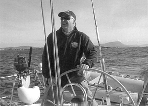 Terry Digges at the helm of Aislig Bheag