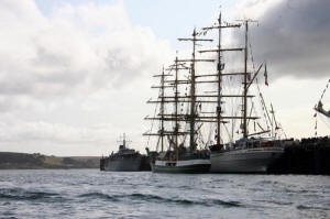 "HMS Cattistock in Falmouth facing ""Alexander von Humboldt"" and ""Cuauhtemoc"" two of the Tall Ships she escorted"