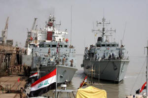 HMS Blyth and HMS Atherstone arriving in Umm Qasr